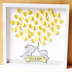 This sweet elephant themed 3D artwork is also a unique guest bookguest sign in for your baby shower.  During the baby shower guests can sign their names inside a folded 3dimensional cardstock heart.  After the shower place the artwork inside a 12x12 shadow box frame not included and display in babys room as a special keepsake.  The guest book alternative is crafted from layers of heavyweight archival cardstock in your choice of color and glitter paper in silver or gold.  Sample above is… Bebe Shower, Baby Shower Niño, Baby Shower Parties, Baby Shower Themes Neutral, Baby Shower Games Unique, Baby Showers Juegos, Baby Elefant, Elephant Theme, Elephant Baby Showers