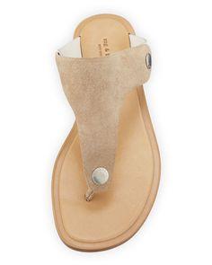 Rag & Bone Luna Flat Suede Thong Sandal, Taupe