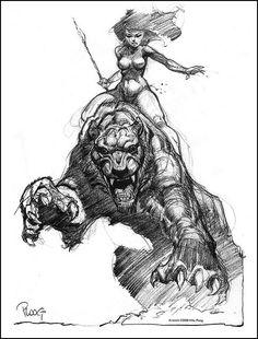 cave Girl - By Mike Ploog. Frank Frazetta, Figure Sketching, Sword And Sorcery, Black And White Drawing, Arte Popular, Fantasy Illustration, Pulp Art, Dark Fantasy Art, Fantastic Art