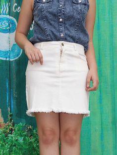 Denim Fringe Fitted Skirt
