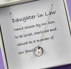 Daughter In Law NecklaceDaughter Gift Wedding Jewelry Hand Chosen By Our Son