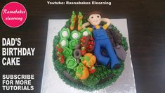 happy birthday papa cake or Retirement wishes cake with vegetable plants home raised garden Happy Birthday Brother Cake, Cartoon Birthday Cake, Animal Birthday Cakes, Birthday Cake For Husband, Birthday Wishes Cake, Frozen Birthday Cake, Birthday Cakes For Men, Husband Cake, Baby Shower Cake Designs