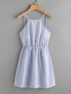 d493c677d38d Striped Cut Out Bow Tie Open Back Cami Dress -SheIn(Sheinside) Кэжуал Наряды