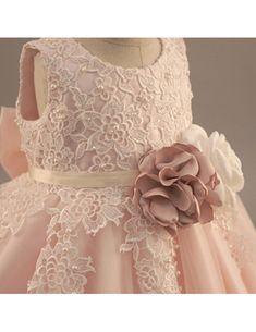Shop Vintage Lace Blush Pink Flower Girl Dress With Flowers Tutus Wedding Dress online. Pink Flower Girl Dresses, Girls Lace Dress, Lace Flower Girls, Floral Lace Dress, Gold Dress, Sequin Dress, Tutu Wedding Dresses, Diy Wedding Dress, Pagent Dresses