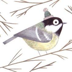 christinepym: December 9th #illo_advent #advent #illustration #illustratedadvent #coaltit #bird #christmas