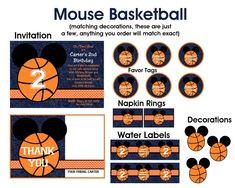Basketball   Mickey Mouse Invitations - Printable or Printed