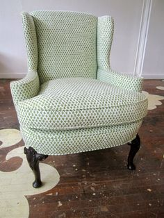 We love this petite antique armchair! We sourced this chair, sold it to a client 'as is' and reupholstered it for her in Sister Parish's Burmese in Green.