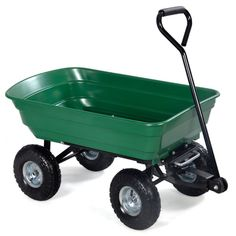 New Green Garden Dump Cart Dumper Wagon Carrier Wheel Barrow Air Tires Heavy Duty > Brand New and high quality Rust Resistant Poly Bed Ball Bearing Wheels With Pneumatic Tires Garden Wagon, Garden Cart, Lawn And Garden, Garden Tools, Yard Tractors, Easy Frame, Portable Greenhouse, Green Lawn, Green Garden