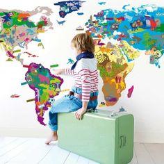 Sticker Map'monde Multicolore  MIMI'lou