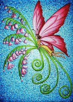How to Paint Flowers Acrylic   Art: Lily of the Valley Butterfly Fairy Valentine by Artist Hiroko ...