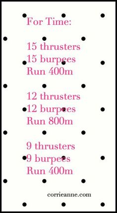 for time running burpees thrusters