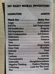A Daily Moral Inventory Totally need to print this out !!!