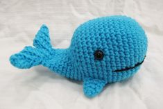 Wilfred the amigurumi crochet whale teaches swimming lessons (he was captain of the swim team in whale school) and loves krill tacos.
