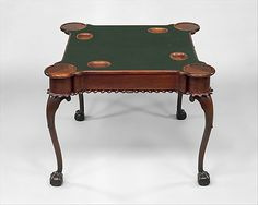 1765 American (New York) Card table (shown open) at the Metropolitan Museum of Art, New York