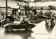 Vintage photo of an auto show underway at Northway Mall in the 1960s (most likely around 1964)