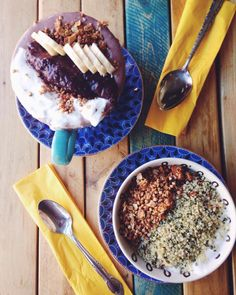 little choc apothecary in brooklyn, ny | acai mugs with house made almond milk, buckwheat granola + anita's coconut yogurt | #breaktfastcriminals #acaibowl #vegan #glutenfree #plantbased