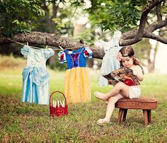 A real princess drying her princess dresses!  So cute!