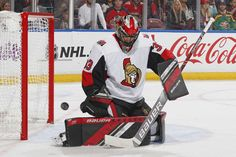 SUNRISE, FL - NOVEMBER Mike McKenna of the Ottawa Senators defends the net against a first period shot by the Florida Panthers at the BB&T Center on November 2018 in Sunrise, Florida. (Photo by Joel Auerbach/Getty Images) Sunrise Florida, First Period, Nhl Games, Florida Panthers, Hockey Goalie, Ottawa, Bb, November, November Born