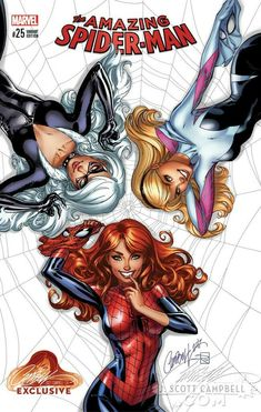 The Amazing Spider-Man variant cover with Mary Jane, Spider Gwen, and Black Cat