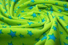 Baumwoll Shirt Jersey Stoff Bündchen Sterne Stars Bonnie grün blau J.Swafing