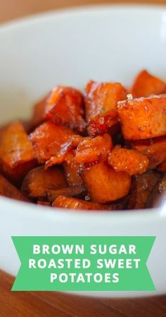 How to make brown sugar roasted sweet potatoes for a dinner side dish in the oven.