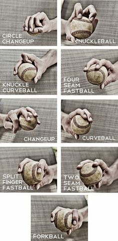 Take a look at how to grip the baseball for each of these pitches. Click to see more pics...