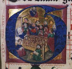 Birgittine antiphoner, 1486, Detail, Initial G, Dormition of the Virgin.