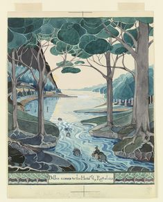 Bilbo comes to the huts of the Raft-elves (MS. Tolkien Drawings © The Tolkien Estate Limited Jrr Tolkien, Tolkien Drawings, Middle Earth, Rafting, Watercolour Painting, The Hobbit, Cosmos, Special Events, Illustration