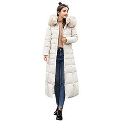 a19f9dd1a95002 Get £4.99 JERFER Womens Casual Fashion Winter Warm JERFER Hooded Coat Long  Cotton Padded Jackets