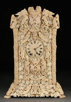 An Extremely Fine French Napolean III Dieppe Carved Ivory Mantle Clock, Century Tabletop Clocks, Mantel Clocks, Mantle, Decoration, Art Decor, Eames, Unusual Clocks, Plywood Furniture, Antlers