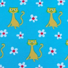 Tricot - Cats on daisy blauw