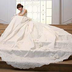 Ball+Gown+Wedding+Dress+Chapel+Train+High+Neck+Satin+with+–+USD+$+189.99