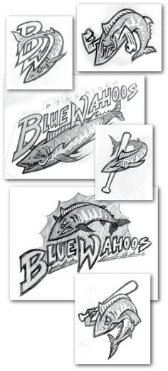 Pensacola Blue Wahoos Concept Sketches