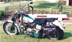 1978 1/2 Harley Davidson FXE Lowrider, stone colored powder coated sheet metal, trimmed out in teal with black & teal old school pin striping.  Old school leather bags, tassels & nickel plated conchos