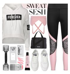 Sports Day by monmondefou on Polyvore featuring polyvore fashion style adidas Avon Live the Process clothing white Pink sweatsesh