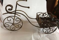 Bicycle Bike Garden Planter Tricycle Decor Stand Basket Metal Cart Pot #Unknown