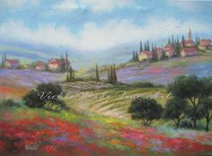 Tuscany Countryside Oil Painting, Italy paintings, Tuscan paintings, Italy art, village, town, landscape, Vickie Wade art on Etsy, $145.00