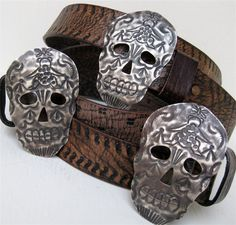 Skull Buckle Belts Tooled Leather Black Brown Reversible Curved Women's Belts Mexican Folk