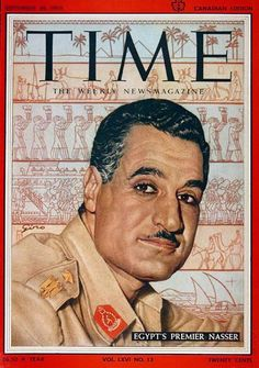 1955 original vintage Time magazine cover. Featuring Egypt's second president, Premier Gamal Abdel Nasser.