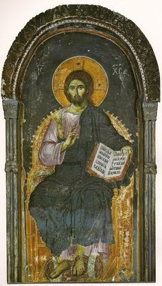 On The Origin of Ὁ ὬΝ in The Halo of Christ – Orthodox Arts Journal. Christ Enthroned, the Protaton, Mount-Athos, attributed to Manuel Panselinos, Andrei Rublev, Christ Pantocrator, Images Of Christ, Christian Images, Late Middle Ages, Book Of Kells, Byzantine Art, 12 Image, Orthodox Icons