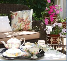 Care for a spot of tea? Pretty Room, China Tea Cups, My Tea, Afternoon Tea, Tablescapes, Tea Time, Tea Party, Cottage Decorating, Entertaining