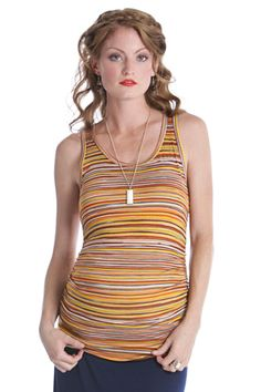 Striped Beater Maternity Tank Top by Lilac | Maternity Clothes    Best selection of designer maternity clothes on the web!  Available at Due Maternity  www.duematernity.com