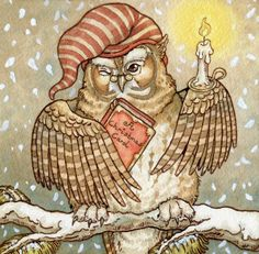 reading owl by Rosie Lauren Smith