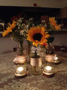 Diy Sunflower centerpieces for our wedding ! Sunflower Wedding Centerpieces, Rustic Wedding Centerpieces, Wedding Table Centerpieces, Wedding Flowers, Wedding Decorations, Sunflower Wedding Themes, September Wedding Centerpieces, Candle Centerpieces, Centrepieces