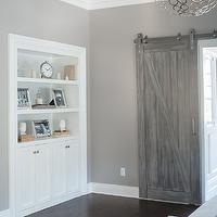 barn door dressing + bathroom