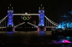 A night shot of the London Tower Bridge with the Olympic rings.  2012 London Olympics