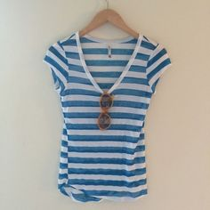 Striped tee - worn once! Going to want to wear a tank underneath, but so cute. Size M fits more like a small. Worn 1x. Non-smoking home. Make an offer. Pair with cutoffs and hit the beach!  Wallflower Tops