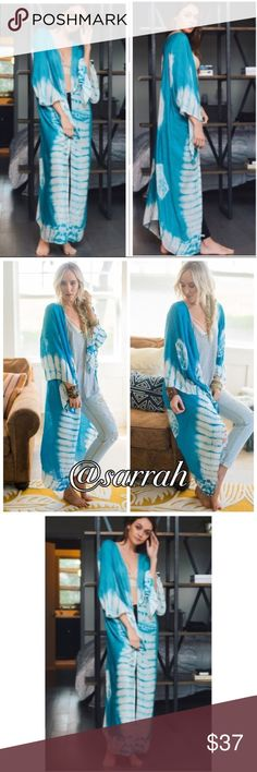 """New THE DREA TYE DYE BOHO LONG KIMONO THE DREA TYE DYE BOHO LONG KIMONO WITH ARM HOLES IN TURQUOISE                                                             AVAILABLE IN BLACK OR BERRY SEE SEPARATE LISTINGS                 ONE SIZE FITS MOST 41"""" x 38""""                                                        100% VISCOSE dina aziza Accessories Scarves & Wraps"""