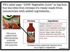 "Don't Fall Victim To These Tricky Juice Labels YET I HAVE READ MEDICAL RESEARCH PROVING BENEFITS OF V8, Dont dismiss ""unperfectly raw"" juicestoo quickly"