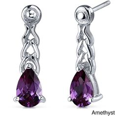 Oravo Sterling Silver Gemstone Pear-cut Earrings (Amethyst), Women's, Size: Small, Purple